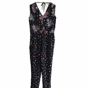 LOFT Black Jumpsuit w/Flowers & Pockets SP